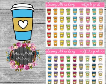 Coffee To Go Stickers (Choose from 2 color sets)