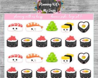 Kawaii Sushi Stickers // Matte, Glossy, Premium Matte