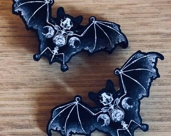 Skeletal Bat Hair Clips
