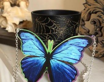 Morpho Butterfly Necklace