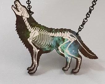 Galaxy Print Skeletal Wolf Necklace