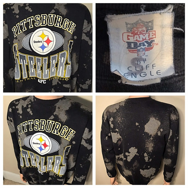 release date: d2e91 4d073 Custom Vintage Pittsburgh Steelers sweatshirt // made in USA // NFL  football // bleached washed all over print // 90s 1998 sweatshirt crew