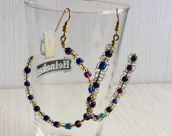 Brass purple wirework earrings