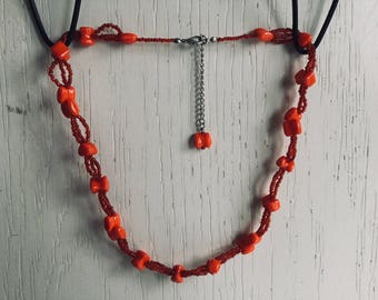 Orange red necklace with seed beads