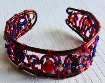 Red wirework bracelet