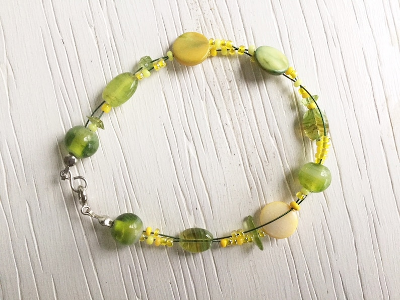 bracelet and earrings with seed beads and shell beads Set of yellow and green necklace