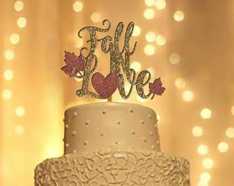 Fall in Love wedding cake topper