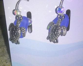 Sea glass and sea turtle earrings