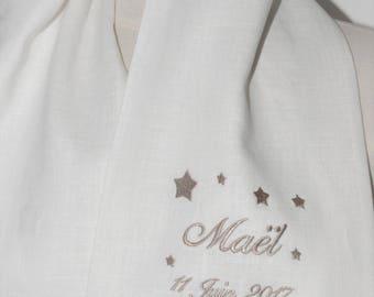 92ebf827fe4a écharpe étole de baptême, étoile ,en lin personnalisée brodée, pour garçon  ou fille