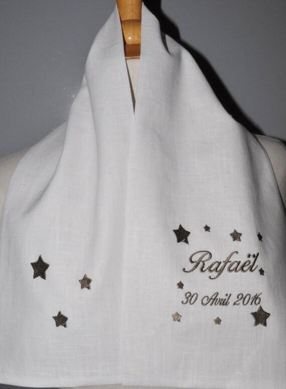 d6dbd0fe5733 écharpe étole de baptême étoile en lin personnalisée brodée   Etsy