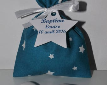 teal Star label personalized baptism favors box pouch star for baptism, wedding, communion