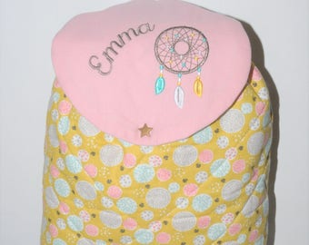 Backpack child dream catcher Indian pink/mustard custom embroidered name