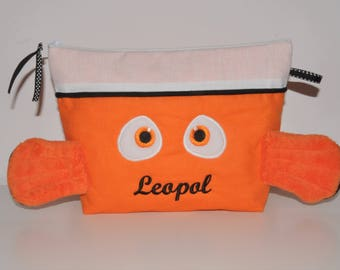 Toiletry bag personalized with name embroidered baby or child clown fish