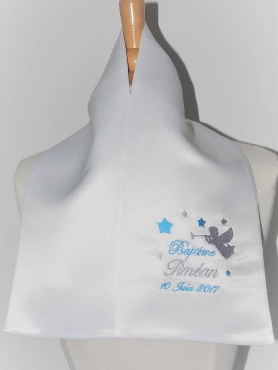 écharpe étole de baptême ange et étoiles personnalisée brodée   Etsy ca7fa57e8bc