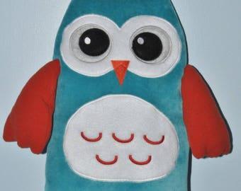 pyjama OWL gluttonous custom embroidered cushion turquoise name