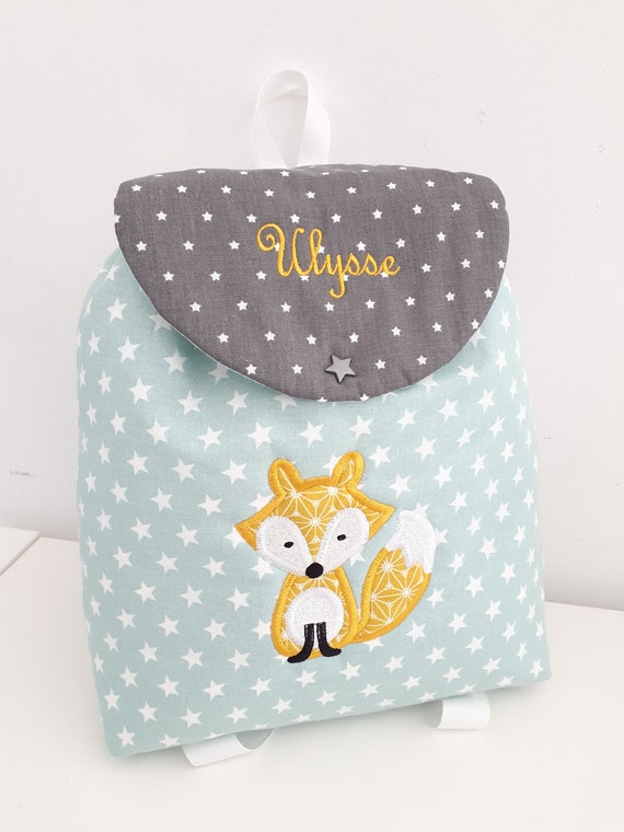 086058f7ffd5 Backpack child Fox personalized embroidered for crib