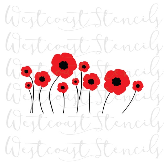 Poppy Flowers Stencil Remembrance Day Veterans Day Cookie Etsy