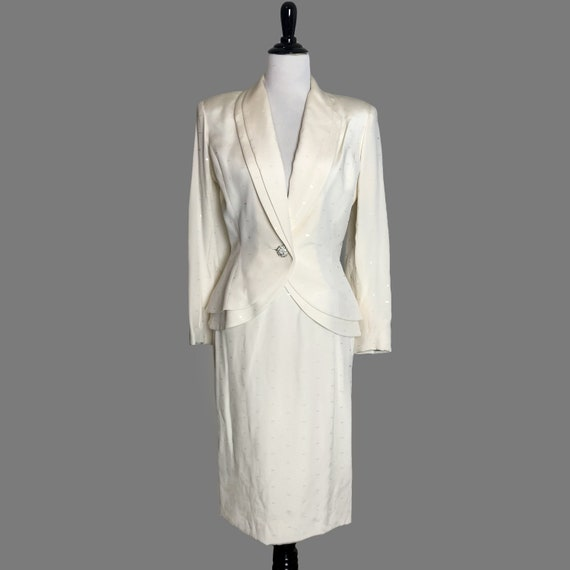 Vintage Travilla Evening Suit Ivory Sz 8, 80s Vint
