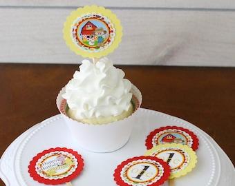 Farm Birthday Personalized Cupcake Toppers | 1st Birthday Decorations | Farm Theme Amimal Food Pick sticks