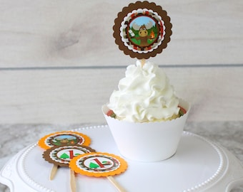Baby MOOSE Birthday Personalized Cupcake Toppers | 1st Birthday Decorations | Food Pick sticks
