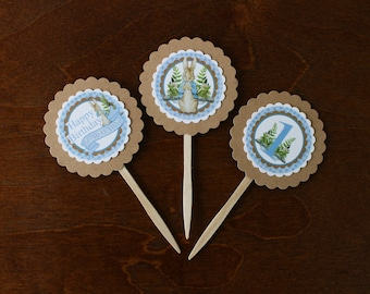 Peter Rabbit Birthday Personalized Cupcake Toppers | 1st Birthday Decorations | Food Pick sticks