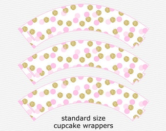 Cupcake Wrappers - Standard Size - Baby Pink & Gold Glitter - Confetti - Birthday - Baby Shower - Sprinkle - PRINTABLE - INSTANT DOWNLOAD