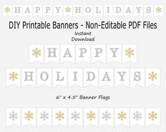 picture about Happy Holidays Banner Printable identify Content holiday seasons banner Etsy