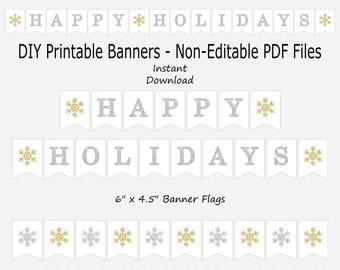 image about Happy Holidays Banner Printable titled Joyful holiday seasons banner Etsy