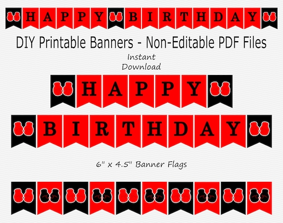 Happy Birthday Banner Red Black Boxing Glove Boy Party Etsy