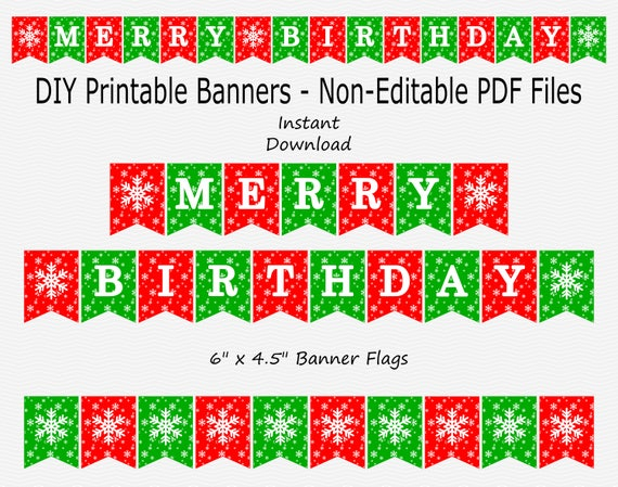 Merry Birthday Banner Red Green Christmas Birthday Party Sign Bunting Decoration Snowflake Decor Printable Instant Download