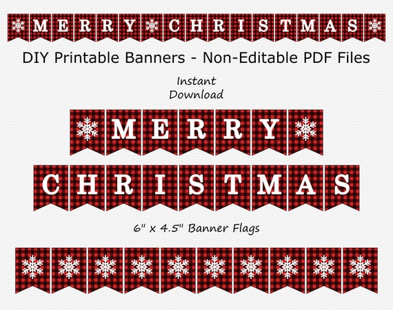 Merry Christmas Banner Black Red Plaid & White Christmas | Etsy