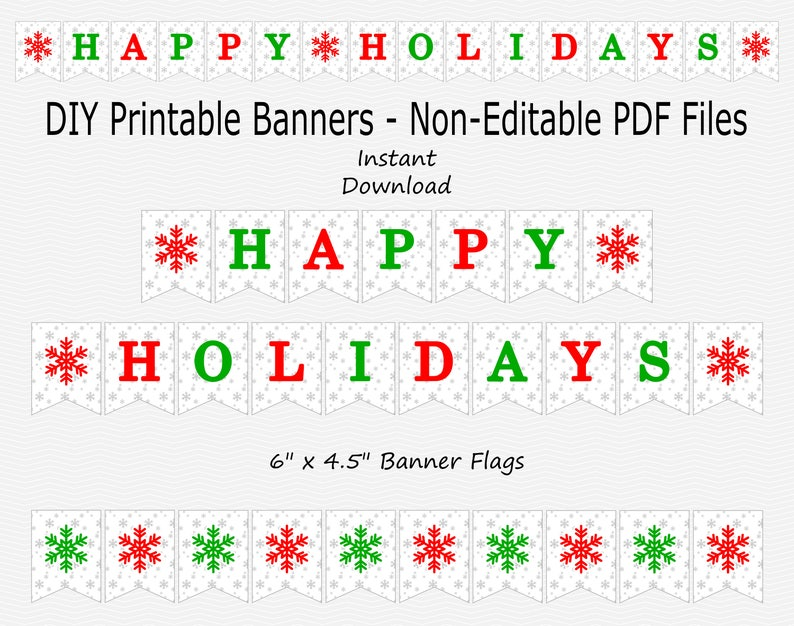 picture about Happy Holidays Banner Printable identify Joyful Vacations Banner with Snowflakes - Silver Sparkle, Crimson Environmentally friendly - PRINTABLE - Prompt Down load