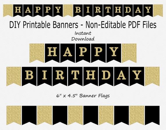 Happy Birthday Banner Black Gold Glitter Printable Etsy