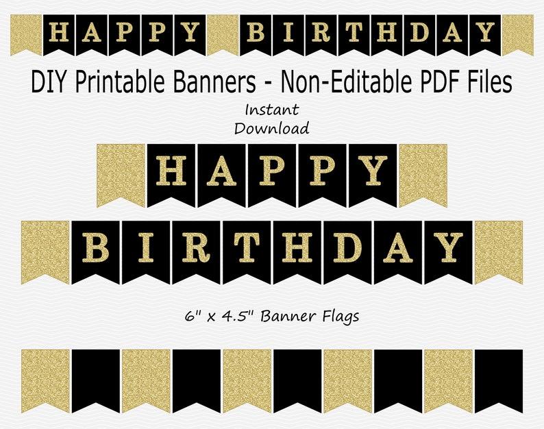 photograph regarding Happy Birthday Banner Printable Pdf identify Joyful Birthday Banner - Black Gold Glitter - PRINTABLE - Instantaneous Obtain