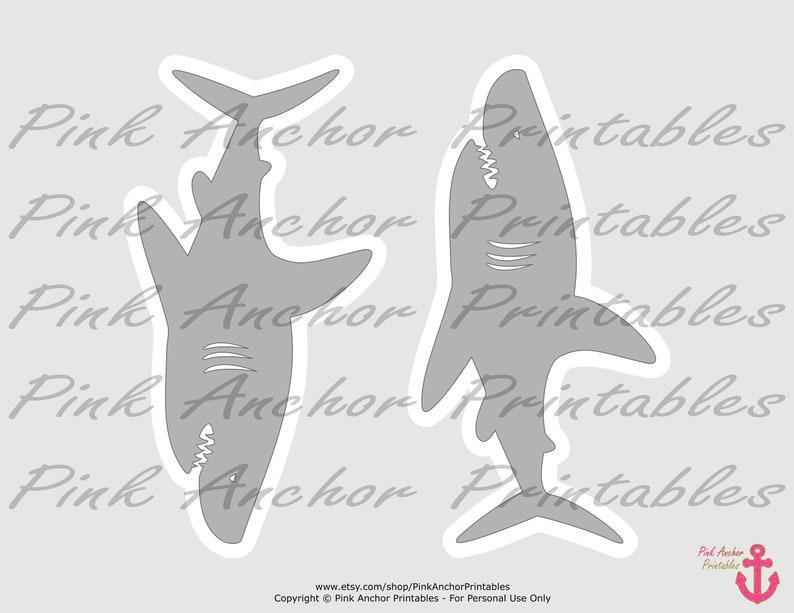 7 Ocean Blue Shark Boy 7th Birthday PRINTABLE Navy Blue /& Grey Printable Centerpieces INSTANT DOWNLOAD