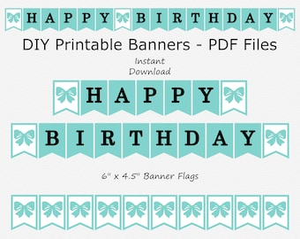 Happy Birthday Banner - Robin Egg Blue, Black & White - Bow - Birthday Party - PRINTABLE - INSTANT DOWNLOAD