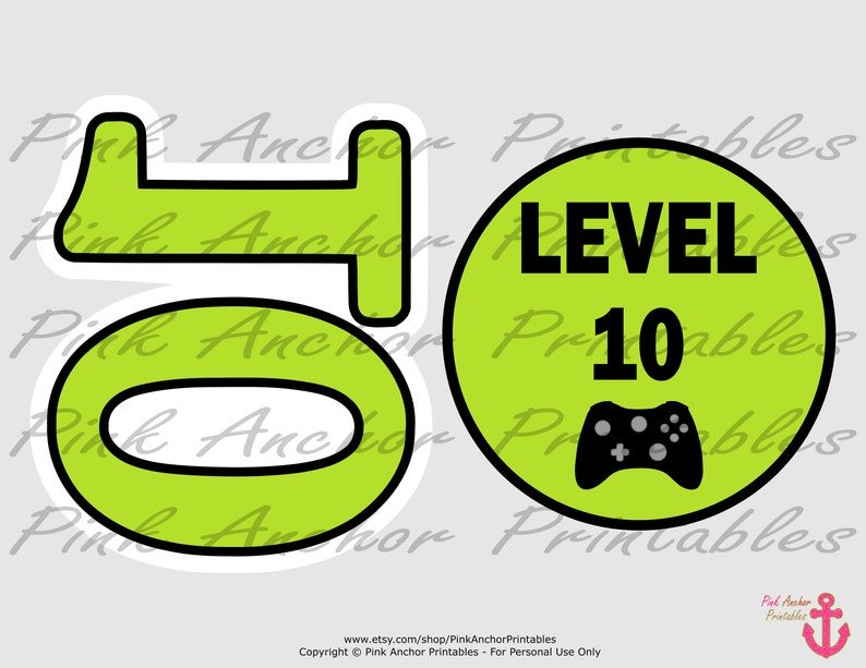Printable Gamer Centerpieces Boy 10th Birthday Video Game Controllers Lime Green /& Black INSTANT DOWNLOAD Level 10