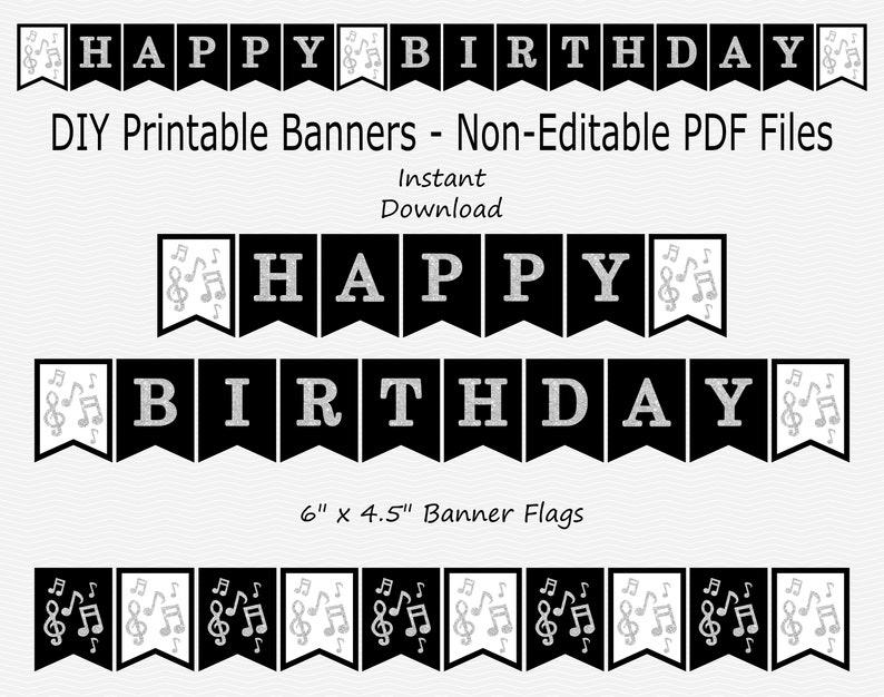 image regarding Printable Happy Birthday Banners named Printable Content Birthday Banner - New music Observe - Black Silver - Birthday Occasion Signal - PRINTABLE - Prompt Down load