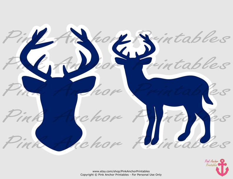 Boy Baby Shower Navy /& Kraft PRINTABLE Deer Head Printable Deer Centerpieces INSTANT DOWNLOAD Deer