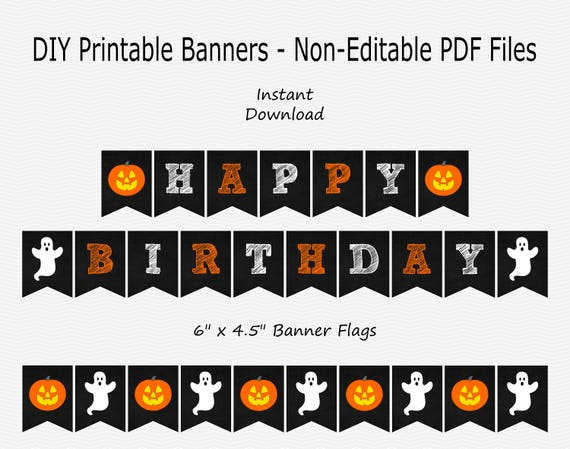 Happy Birthday Banner Black Chalkboard Orange White Etsy