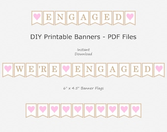 We're Engaged Banner - Beige & Baby Pink - Wedding Engagement - Engaged - PRINTABLE - INSTANT DOWNLOAD