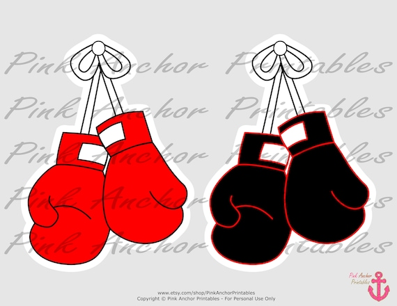 INSTANT DOWNLOAD Boxer Printable Centerpieces PRINTABLE Boxing Boy Baby Shower Black /& Red