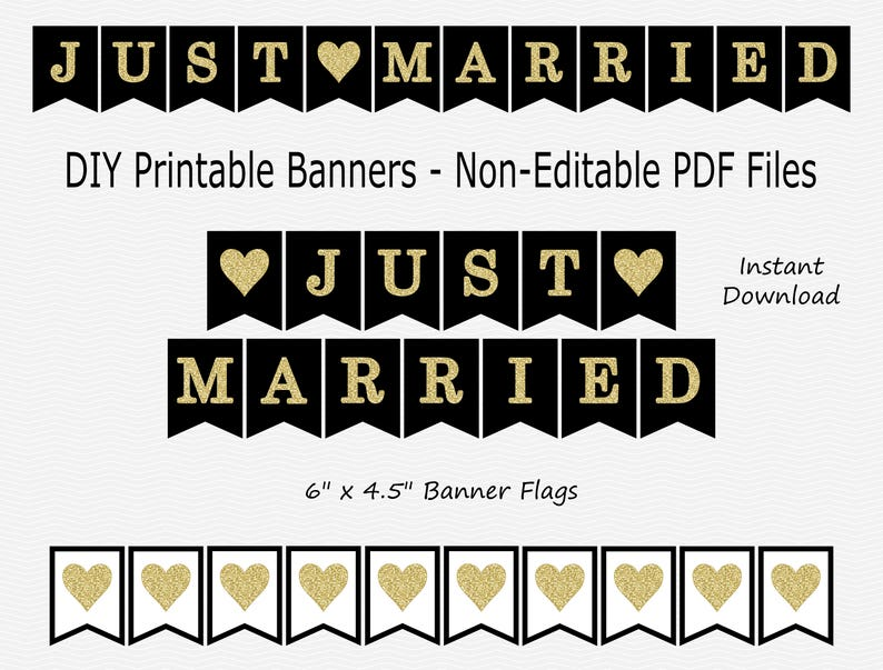 b20cb74deae Just Married Banner - Black & Gold Glitter - Heart - Wedding Photo Prop -  PRINTABLE - INSTANT DOWNLOAD