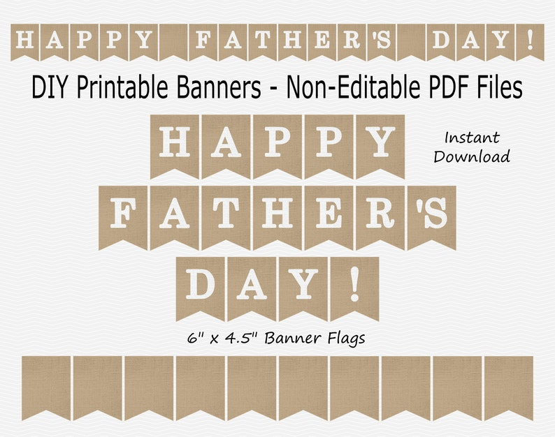 graphic regarding Happy Father's Day Banner Printable identified as Delighted Fathers Working day Banner - Burlap White - Fathers Working day - Do-it-yourself Printable - Quick Obtain