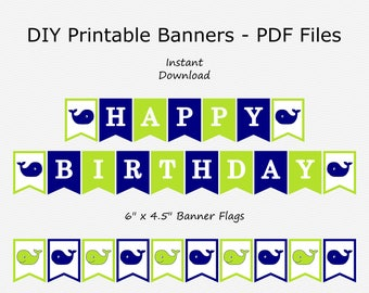 Happy Birthday Banner - Navy Blue & Lime Green - Whale Birthday Party Buntung - Boy - PRINTABLE - INSTANT DOWNLOAD
