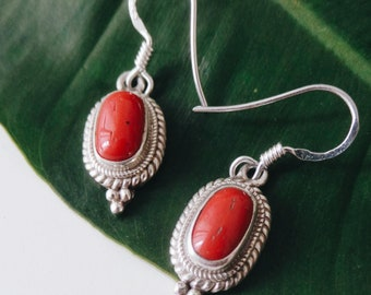 Nepal Earrings with Mediterranean Sea Coral and Sterling Silver, Handmade