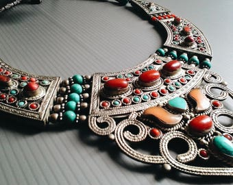 Tibetan Jewelry / Nepal Copper inlaid Stone necklace / Traditional Statement Necklace