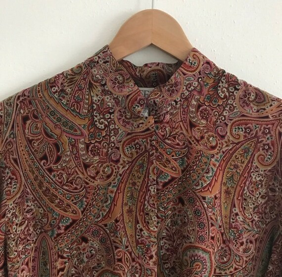 Vintage red silk paisley blouse - office wear - wo