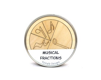 Music Fractions Learning Aid, Music Lesson Manipulatives, Homeschooling, Montessori, Wooden, Elementary School, Half Note, Whole Note, Rest