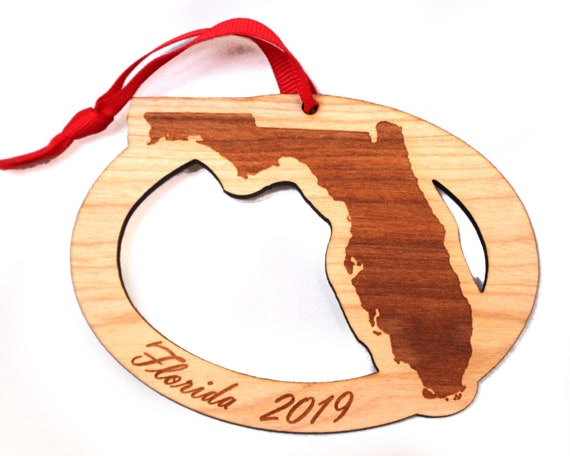 Key West Christmas 2019.Florida 2019 Wooden Ornament Christmas Custom Personalized Cape Canaveral Eglin Afb Nasa Key West Nas Pensacola Jacksonville Miami